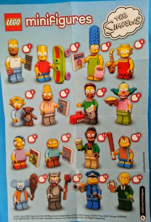 LEGO Simpson's minifigures leaflet showing characters