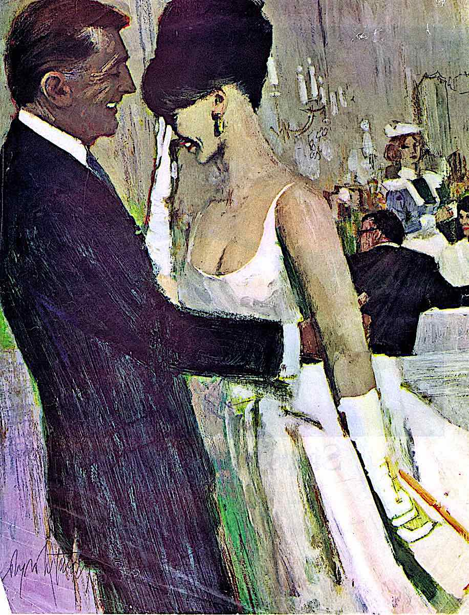 a a Coby Whitmore illustration of an intergen couple at an expensive restaurant