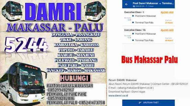 Harga Tiket Bus Palu Makassar, Ini Tarif Damri 2020