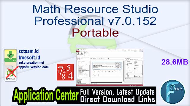 Math Resource Studio Professional v7.0.152 Portable_ZcTeam.id