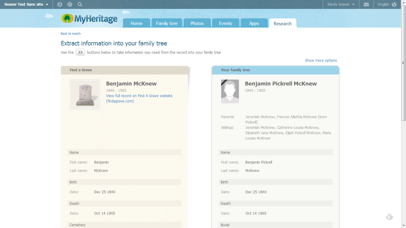 myheritage how to connect a person in two different trees