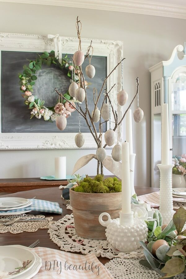 antique eggs on DIY tree