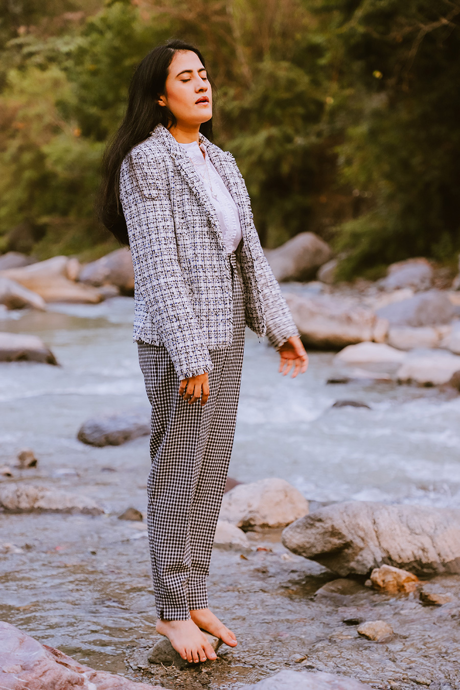 wearing white button up shirt with gingham pant and tweed blazer for work outfit