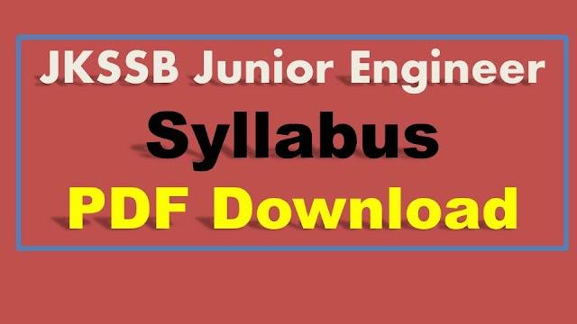 JKSSB Junior Engineer Syllabus 2019 JKSSB JE Electrical Syllabus  JE Syllabus Electrical JE Syllabus