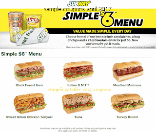 Subway coupons april