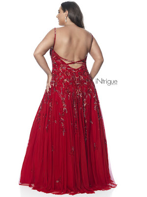 Scope Neckline A-line intrigue by plus blush size prom dress Red Color Back side