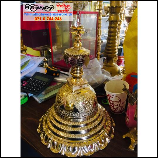 Gold Plated Brass Karaduwa - 16 inch - (Pagoda, Chaithya)  - අගල් 16 ක් උස රන් ආලේපිත කරඩු වහන්සේ