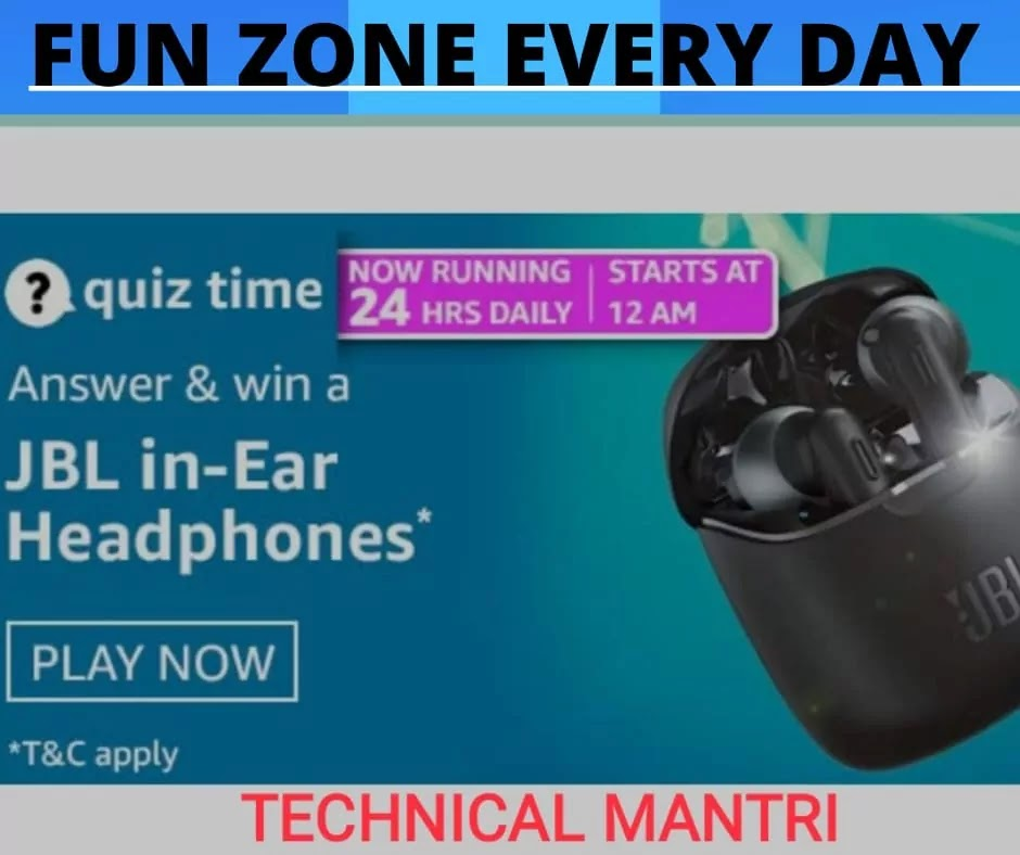 Amazon quiz answers today for 6th April 2021 Win JBL in-Ear Headphones