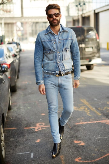 Men's street style: canadian tuxedo man with denim jacket denim pants