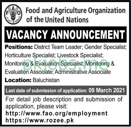 Latest Food Agriculture Organization Management Posts 2021