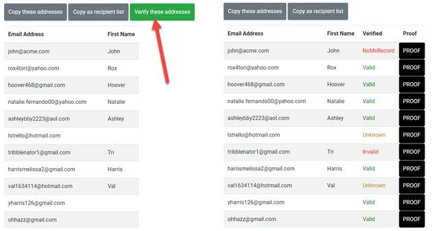 verificare validità di indirizzi email