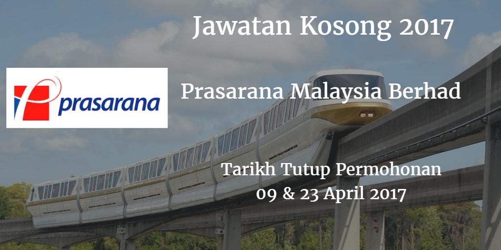 Jawatan Kosong Prasarana Malaysia Berhad 20 April 2017