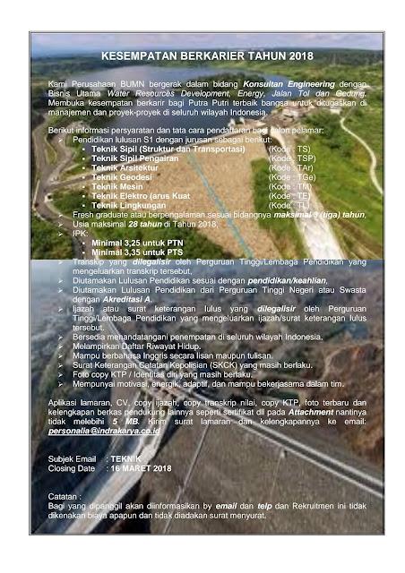 Lowongan Kerja BUMN PT Indra Karya 2018