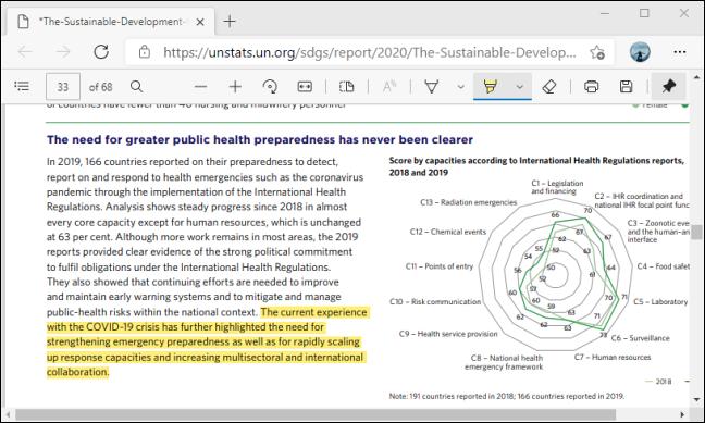 قم بتمييز النص باستخدام شريط أدوات PDF في Microsoft Edge