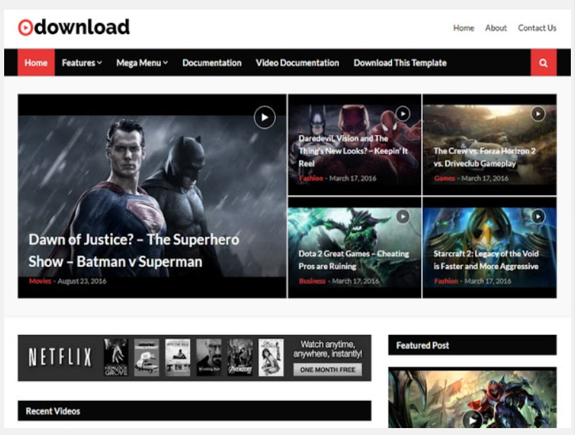 Video or Movie Download Blogger Template