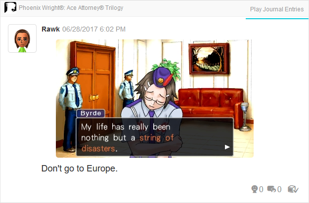 Phoenix Wright Ace Attorney Justice For All Maggey Byrde string of disasters Europe