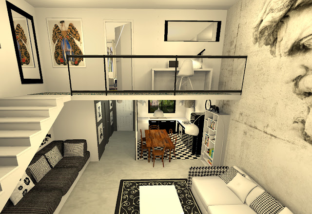 proposition d 39 am nagement d 39 un appartement avec mezzanine. Black Bedroom Furniture Sets. Home Design Ideas