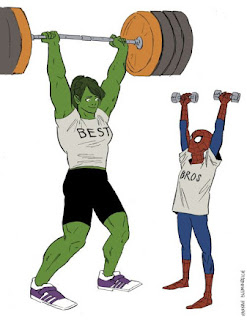She Hulk and Spiderman working out
