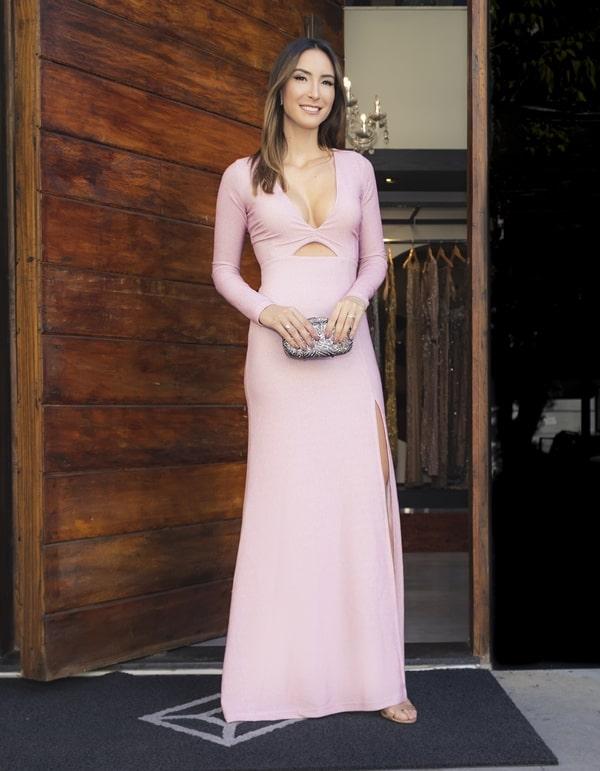 vestido  longo rose de manga longa