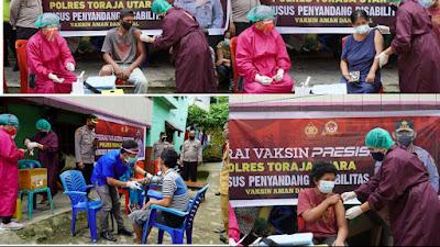 Gerai Presisi Polres Toraja Utara Vaksin 10 Penyandang Disabilitas