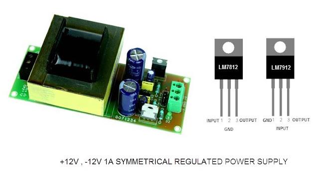 مصدر تغذية بجهد مستمر -12 و+12 فولت باستخدام 7812 و7912