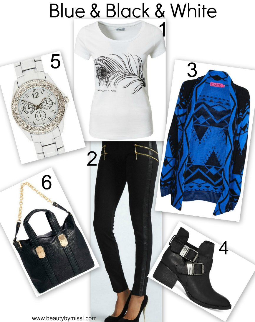 blue, black & white everyday outfit