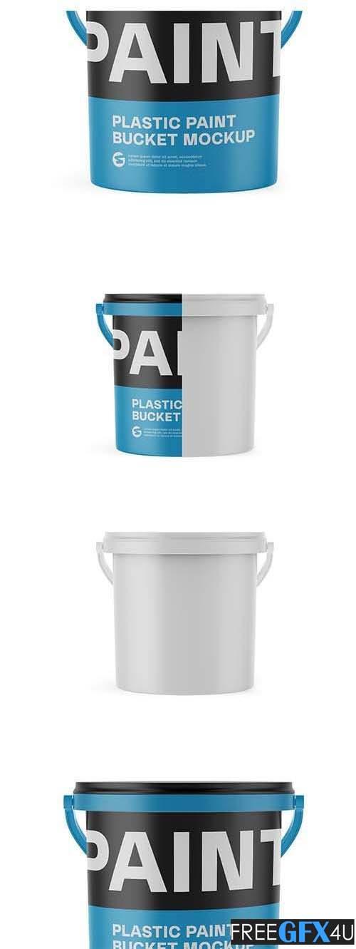 10L Plastic Paint Bucket Mockup