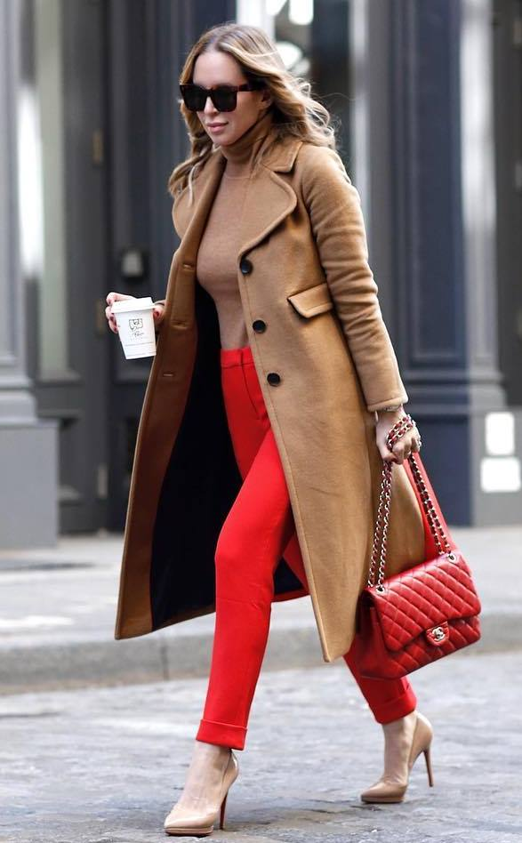 winter fashion trends | red pants + heels + bag + sweater