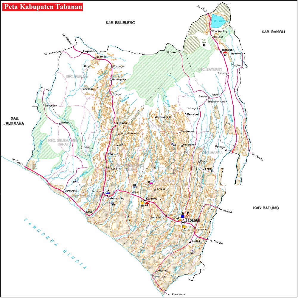 Peta Jalan di Kabupaten Tabanan Provinsi Bali