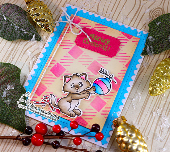 Kitten Christmas card by Ellen Haxelmans | A Kitten Christmas Stamp Set, Framework Die Set, and Plaid Stencil Set by Newton's Nook Designs #newtonsnook #handmade