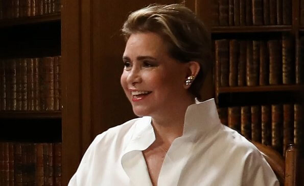 Grand Duchess Maria Teresa. Luxembourgian fable. pearl earrings and white shirt. Princess Stephanie. Hereditary Grand Duchess Stephanie
