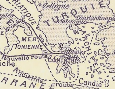 detail from a vignette on a Canal Maritime de Corinthe share certificate showing sea routes around Greece