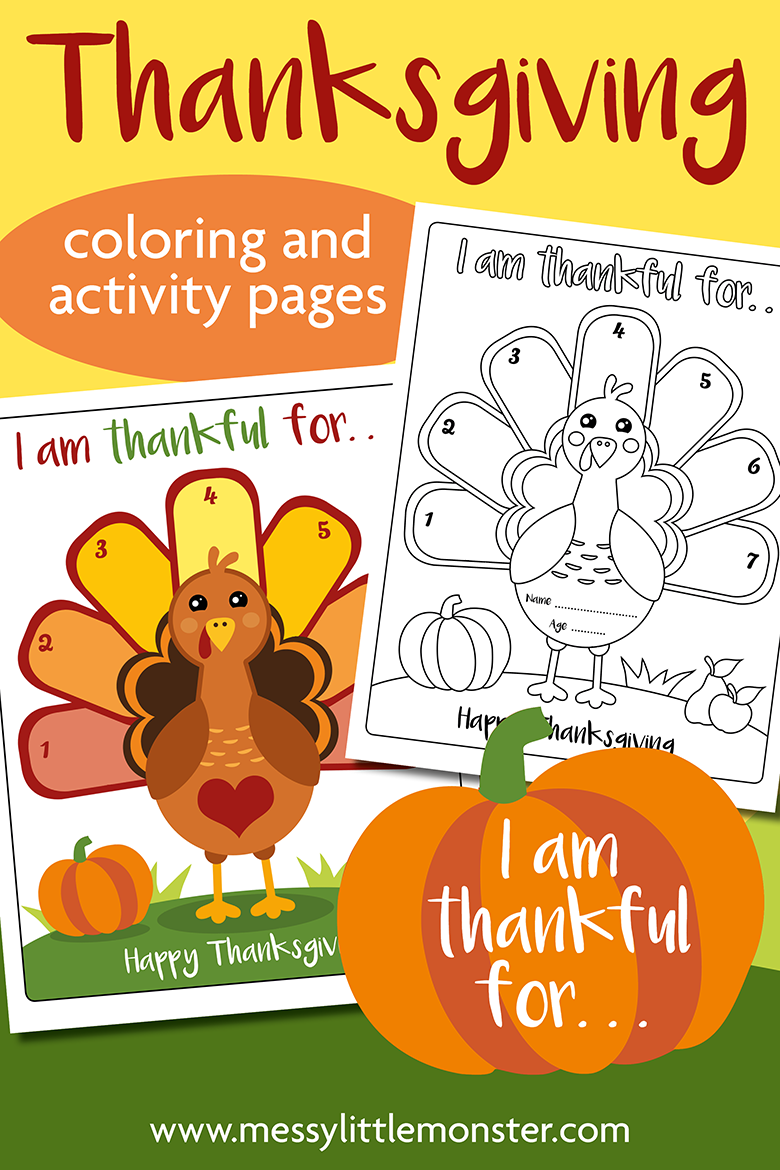 Free printable Thanksgiving Coloring Page.  Printable I am thankful for activity page