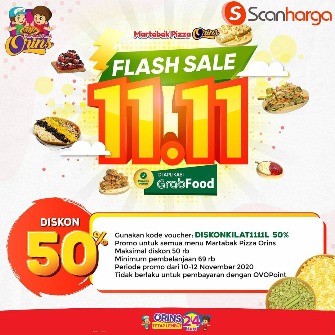 Promo Martabak Pizza Orins Flash Sale 11.11: Diskon 50% via Grabfood