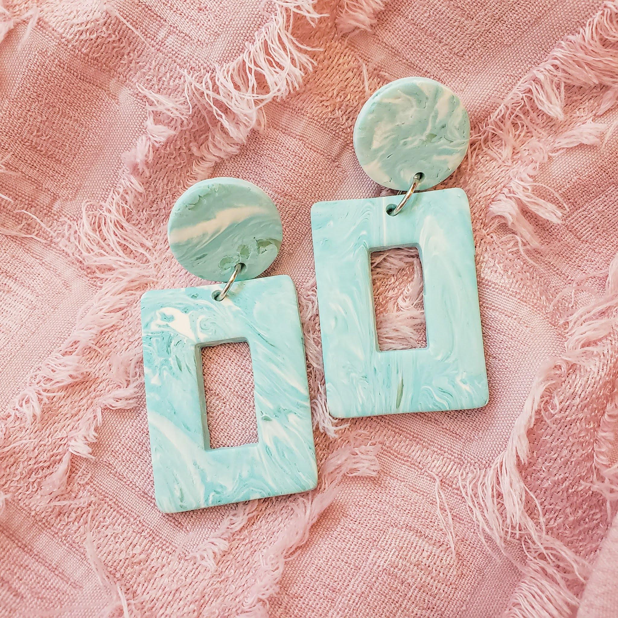 Handmade polymer clay statement earrings - layla drops