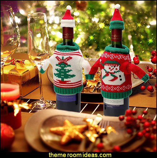 Knit Sweater Wine Bottle Dress Santa Reindeer Snowman Wine Bottle Cover for Christmas Decorations Christmas Sweater