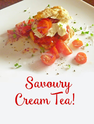 savoury cream tea with cream cheese and tomatoes