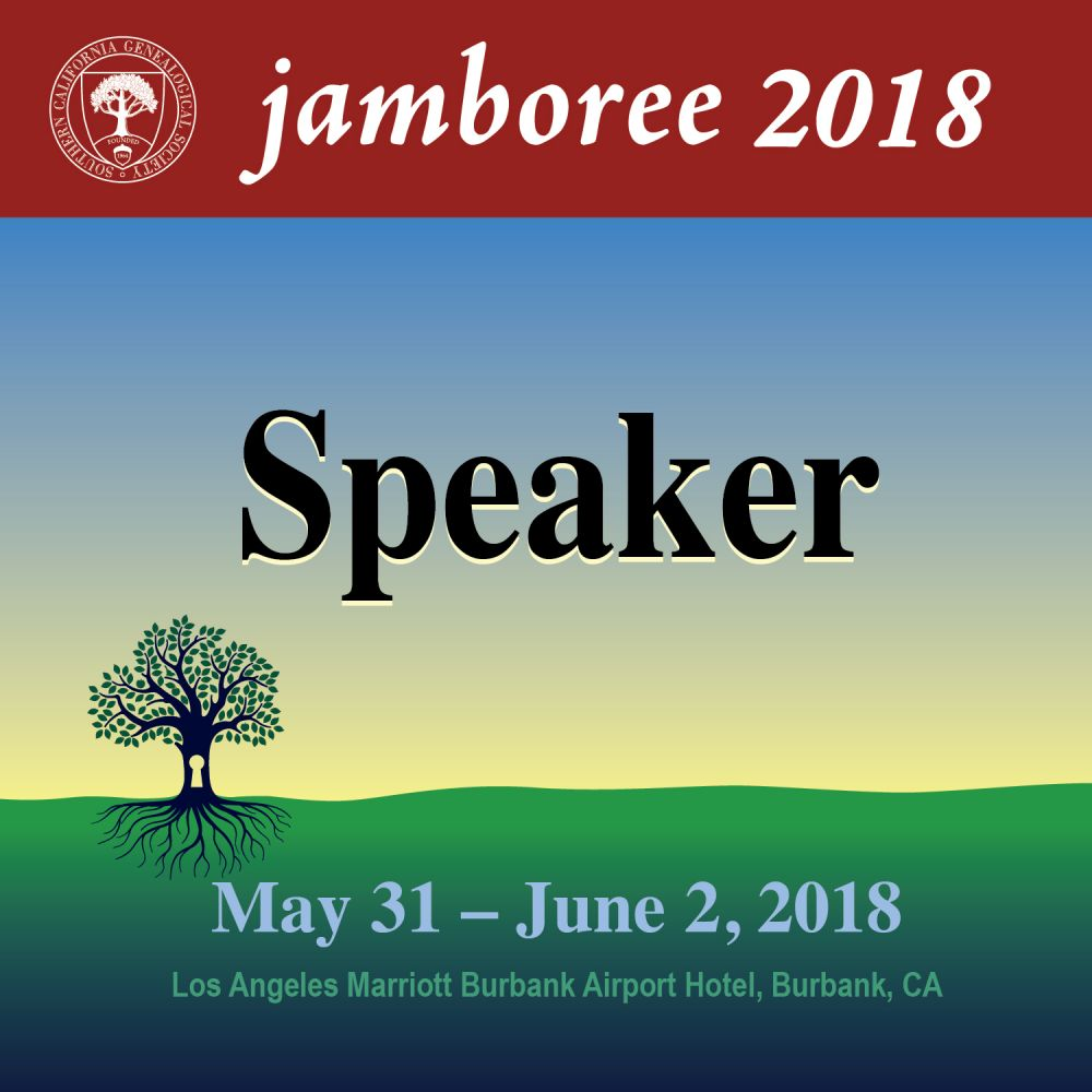 Genealogy Jamboree 2018 Speaker