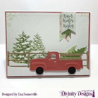 Stamp/Die Duos: Deer Ornament, Custom Dies: Pickup Truck, Trees & Deer, Snowy Slopes, Barn Fence, Large Banners, Pennant Flags, Double Stitched Pennant Flags, Pierced Rectangles, Paper Collection: Christmas 2018