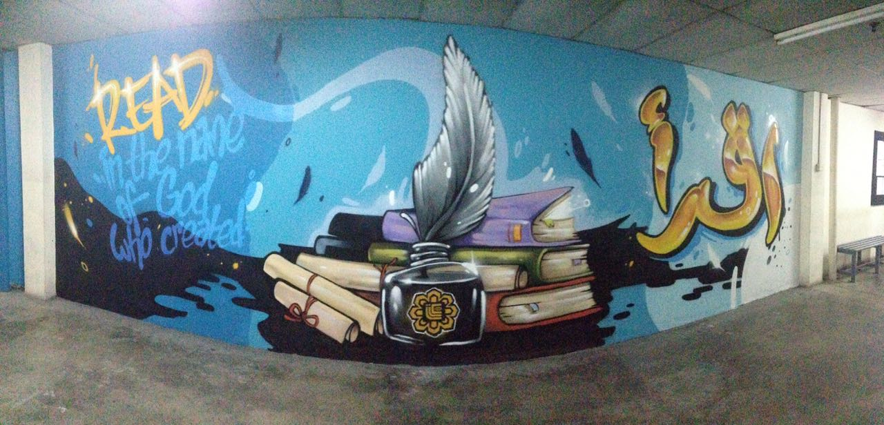 Perol graffiti malaysia islamic theme mural for for Mural 1 malaysia