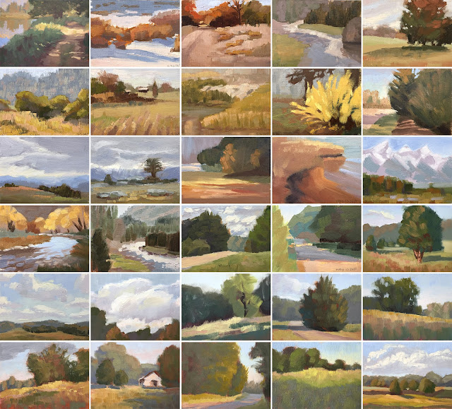 30 Days of Value Thumbnails - mini color studies