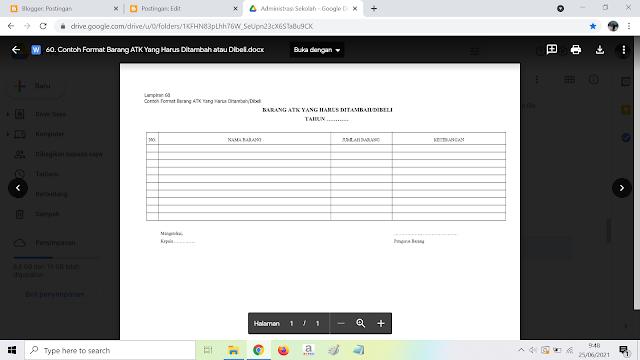 Contoh Format Barang ATK Yang Harus Ditambah atau Dibeli