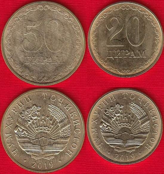 Tajikistan 2019 new circulation designs 20 & 50 diram