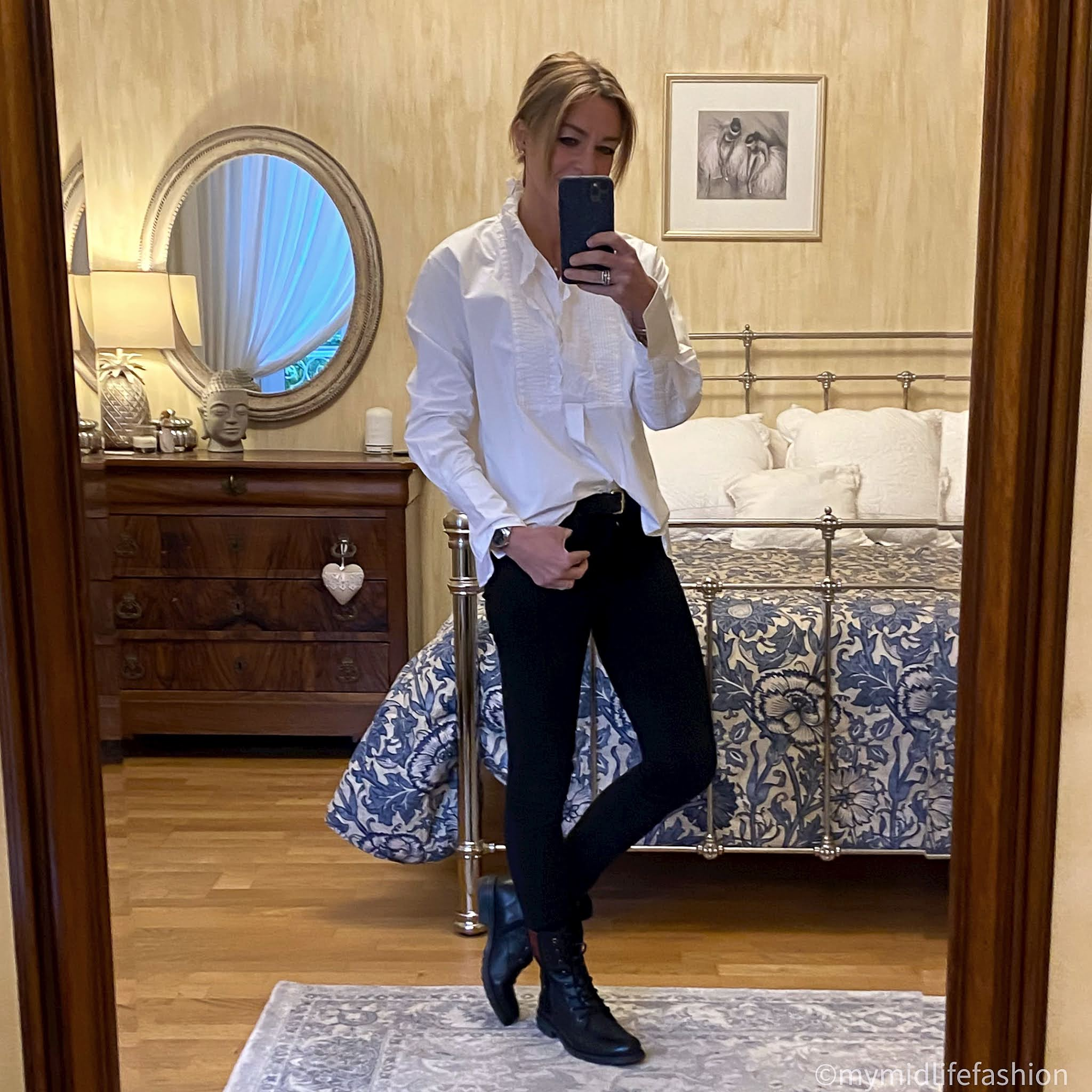 my midlife fashion, Isabel Marant Etoile frill detail blouse, boden classic leather belt, j crew 8 inch toothpick skinny jeans, Carl Scarpa paulette ankle boots