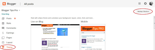 Blogger template backup button