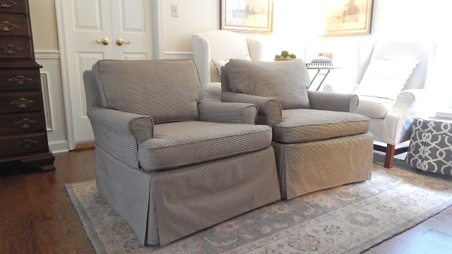 Similar But Different Club Chairs Look Nearly Identical In Black U0026 Cream  Striped Cotton Slipcovers.