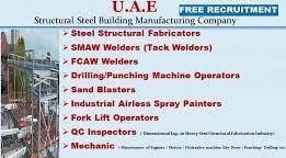 Fabricators, Mig Welder, Painter, Crane Operator, CNC Operator, Helper Jobs Recruitment in Structural Steel Company Dubai