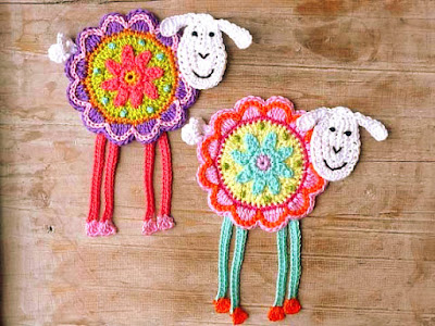 crochet applique sheep