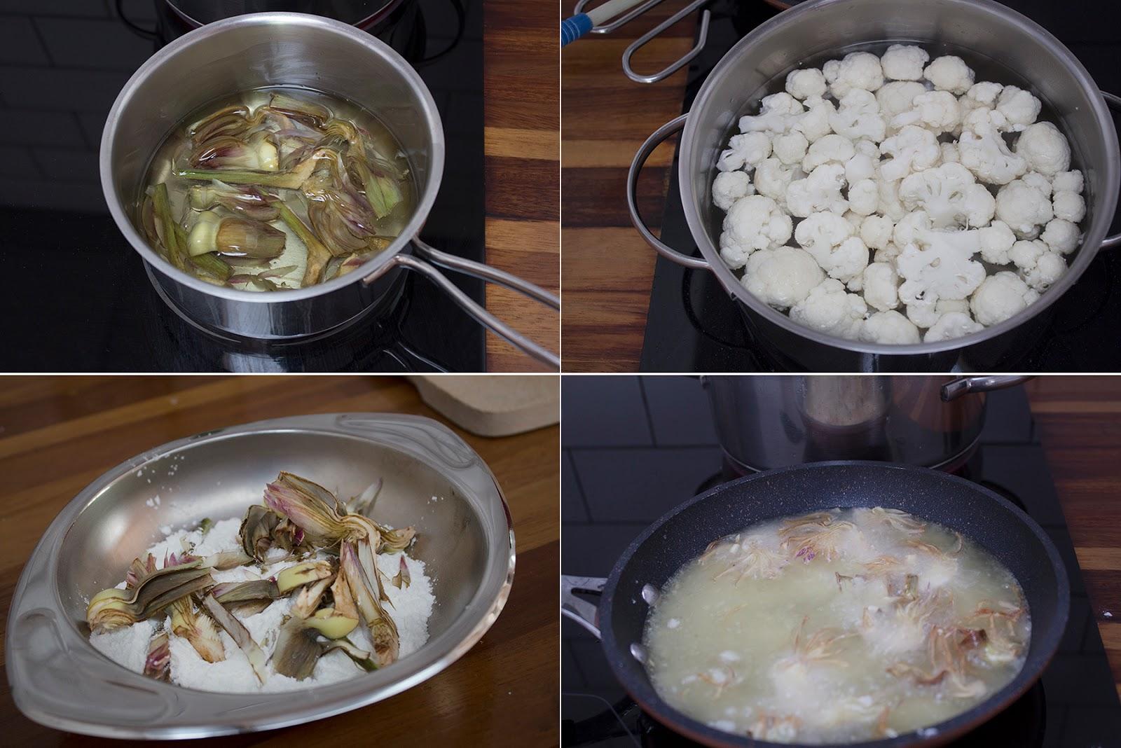 Collage alcachofas y coliflor