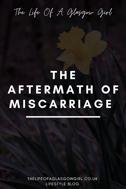 "Pinterest image with Black background with white writing that says ""the aftermath of miscarriage"""